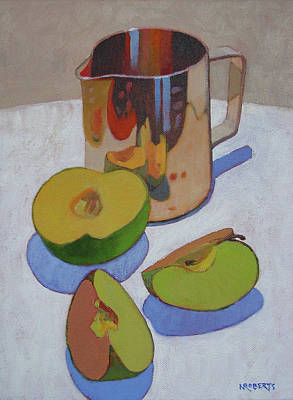 Painting - Creamer And Apple Slices by Nancy Roberts