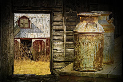 Farm Scenes Photograph - Creamery Milk Cans With Window View Of An Old Red Barn by Randall Nyhof