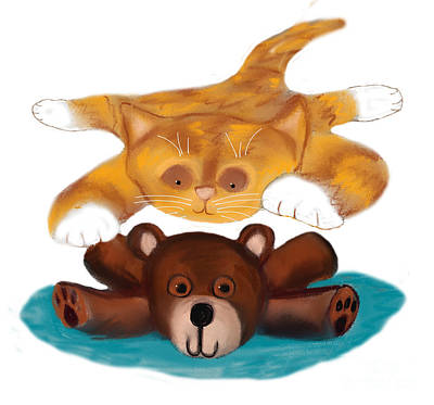 Digital Art - Creaming The Teddy Bear by Ellen Miffitt
