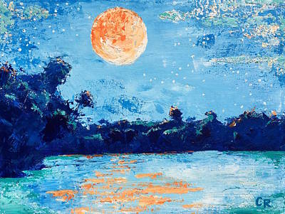 Painting - Creamsicle Moon by Chris Rice