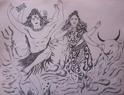 Parvati Drawing - Creation by Aurokanya Chattopadhya