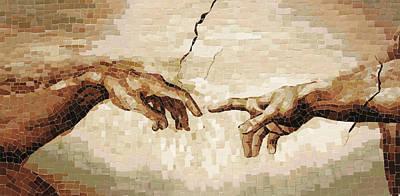 Creation Of Adam - Ceramic Mosaic Wall Artwork Art Print