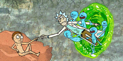 Creation Painting - Creation Of Morty by Rick And Morty