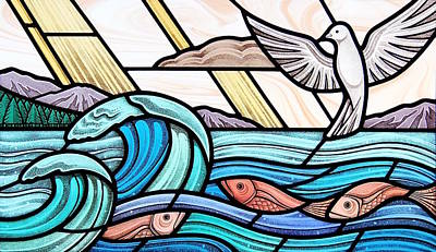 Glass Art - Creation Of The Sea And Sky by Gilroy Stained Glass
