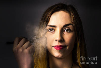 Photograph - Creative Dark Makeup Beauty Applying Blush Powder by Jorgo Photography - Wall Art Gallery