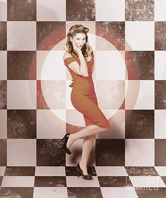Creative Vintage Pin-up Girl In 50s Retro Diner Art Print by Jorgo Photography - Wall Art Gallery