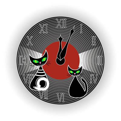 Vinil Digital Art - Creative Wall Clock by Marina Usmanskaya
