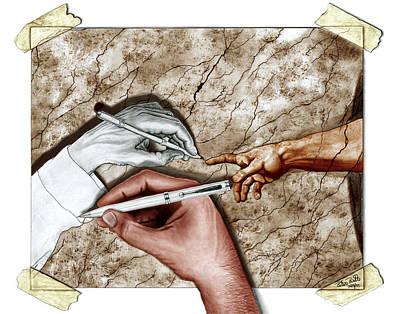 Charcoal Digital Art - Creators Hand At Work - Colored by Peter Piatt