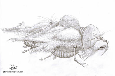 Drawing - Creature 3 by Steven Powers SMP