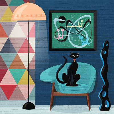 Eames Chair Wall Art - Painting - Creature Comforts Mid-century Interior With Black Cat  by Little Bunny Sunshine