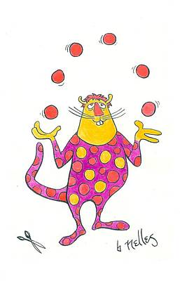 Creature Juggling Polka Dots Art Print