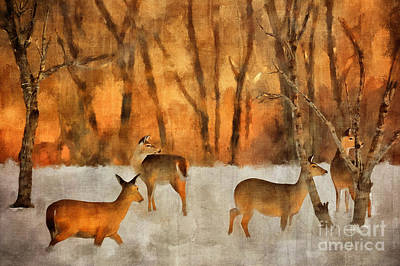 Bare Trees Digital Art - Creatures Of A Winter Sunset by Lois Bryan