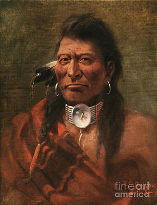 Horse Images Painting - Cree Chief by Edgar S Paxson