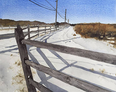 Split Rail Fence Drawing - Creek And Terwood by Ellie Moniz