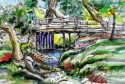 Painting - Creek Bed And Bridge by Terry Banderas