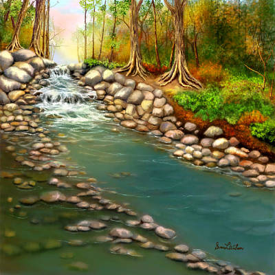 Art Print featuring the painting Creek In The Spring by Sena Wilson
