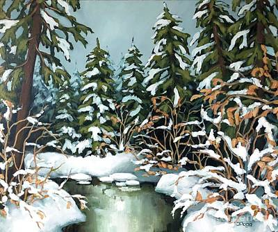 Painting - Creek, Winter, Snow by Inese Poga
