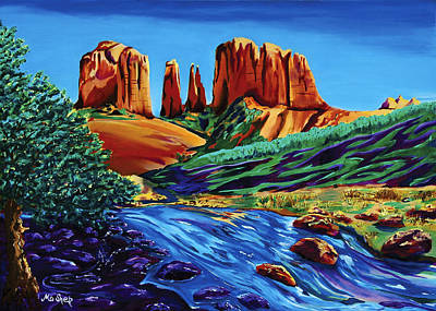 Cathedral Rock Painting - Creekside Cathedral by Clark Sheppard