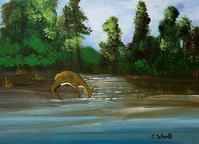 Painting - Creekside Drink by Christina Schott