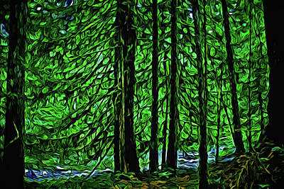 Park Scene Digital Art - Creekside Forest by Richard Farrington