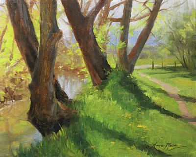Colorado Landscapes Wall Art - Painting - Creekside Shadows by Anna Rose Bain