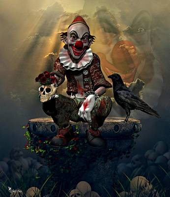 Digital Art - Creepy Halloween Clown by Ali Oppy