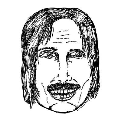 Dude Drawing - Creep Mustache Dude by Karl Addison