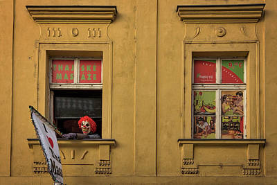 Photograph - Creepy Clown Loves Thai Massage - Prague by Stuart Litoff