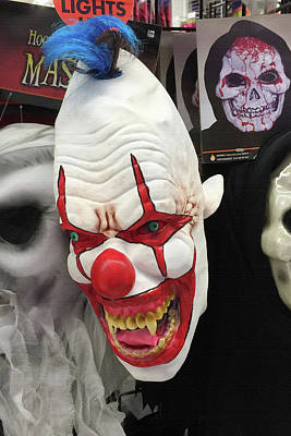 Hoodie Photograph - Creepy Clown Mask by Art Block Collections