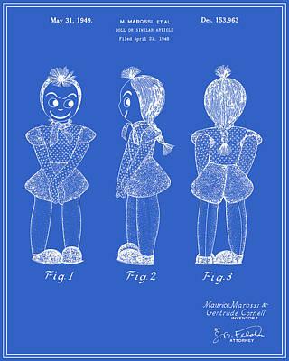 Creepy Doll Patent - Blueprint Art Print