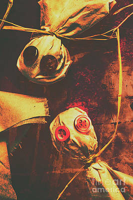 Primitive Photograph - Creepy Halloween Scarecrow Dolls by Jorgo Photography - Wall Art Gallery