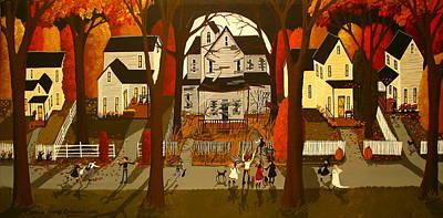 Moon Night Dark Dog Painting - Creepy House Dare - Folk Art by Debbie Criswell