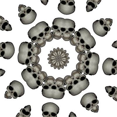 Digital Art - Creepy Human Skull Mandala by Tracey Harrington-Simpson