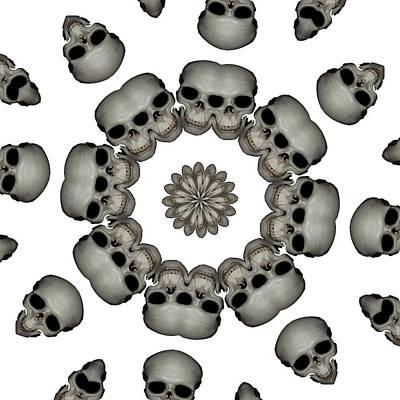 Digital Art - Creepy Human Skull Mandala by Tracey Harrington-Simpson
