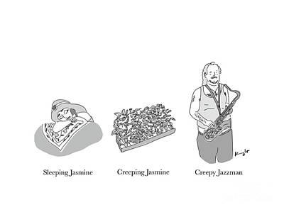 Drawing - Creepy Jazzman by Douglas Knight
