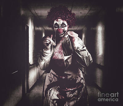 Creepy Medical Clown In Grunge Hospital Hallway Art Print