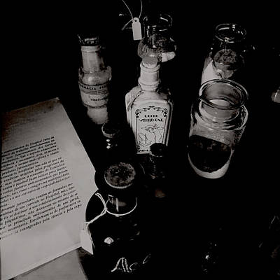 Photograph - Creepy Old Stuff - Pharmacy Bottles by Marco Oliveira