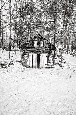 Old House Photograph - Creepy Winter Cabin In The Woods by Edward Fielding