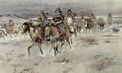Old West Drawing - Crees Coming In To Trade by Charles Marion Russell