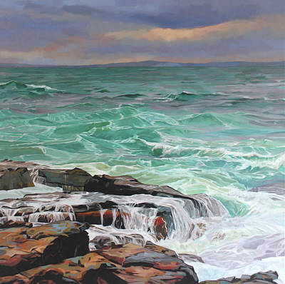 Creevy Storm 3, Waves Spill Over The Rocks Art Print by Kevin Lowery