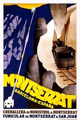 Mixed Media - Cremallera De Monistrol A Montserrat - Railway - Retro Travel Poster - Vintage Poster  by Studio Grafiikka