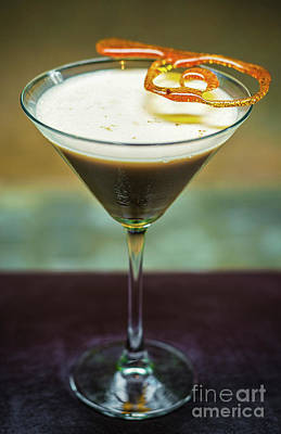 Martini Royalty-Free and Rights-Managed Images - Creme Caramel Cream Martini Cocktail Drink Glass  by Jacek Malipan