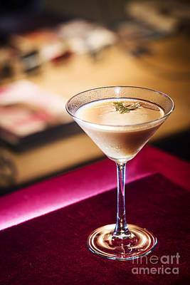Martini Royalty-Free and Rights-Managed Images - Creme Caramel Martini Cocktail In Bar by Jacek Malipan