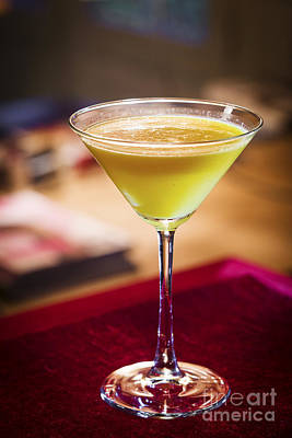 Martini Royalty-Free and Rights-Managed Images - Creme Caramel Martini Cocktail In Trendy Bar by Jacek Malipan