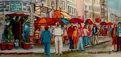 Jewish Montreal Painting - Creme De La Creme Cafe by Carole Spandau