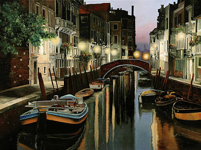 Venice Wall Art - Painting - Crepuscolo In Laguna by Guido Borelli