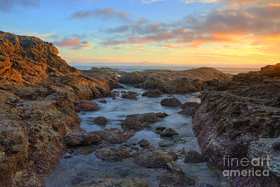 Art Print featuring the photograph Crescent Bay Tide Pools At Sunset by Eddie Yerkish