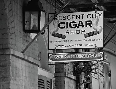 Photograph - Crescent City Cigar Shop Signage - New Orleans - B/w by Greg Jackson