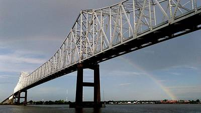 Photograph - Crescent City Connection Thur The Rainbow On The Mississippi River In New Orleans by Michael Hoard