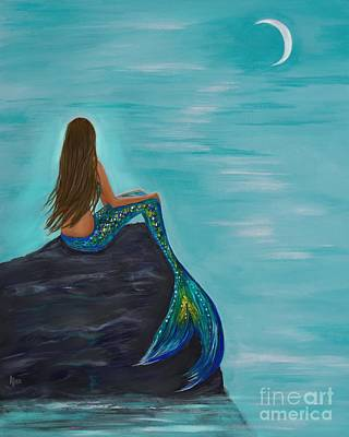 Painting - Crescent Mermaids Moon by Leslie Allen